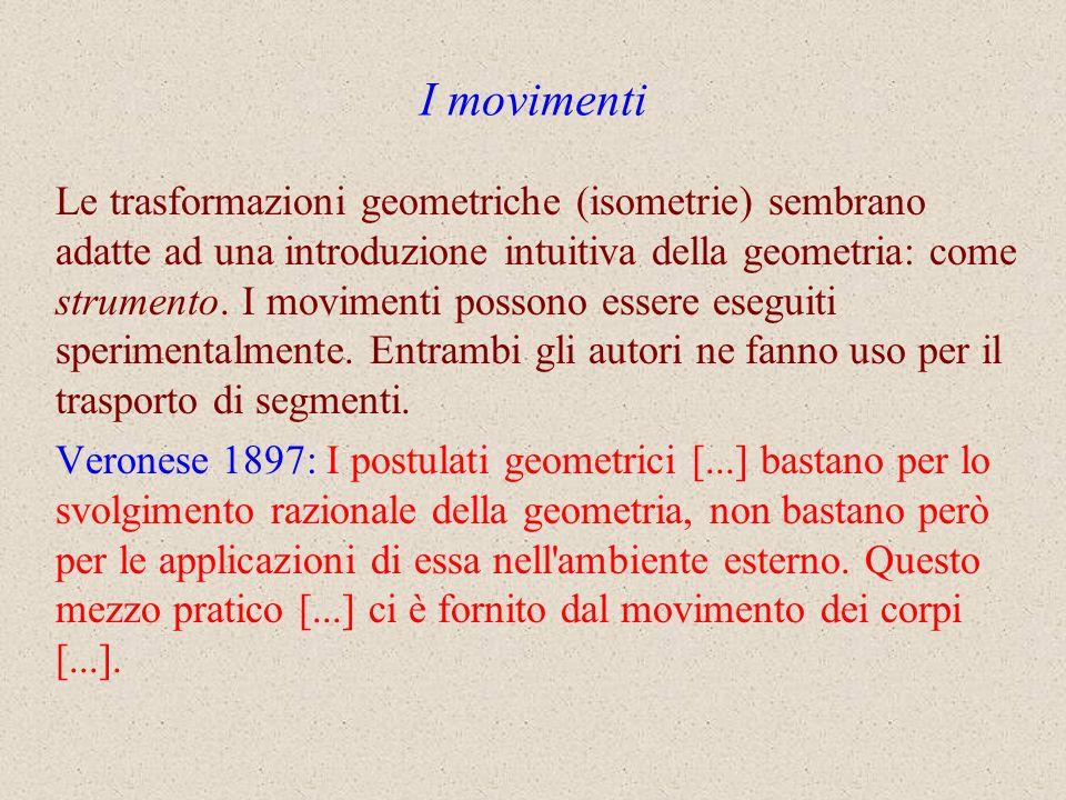 I movimenti Le trasformazioni geometriche (isometrie) sembrano adatte ad una introduzione intuitiva della geometria: come strumento. I movimenti posso