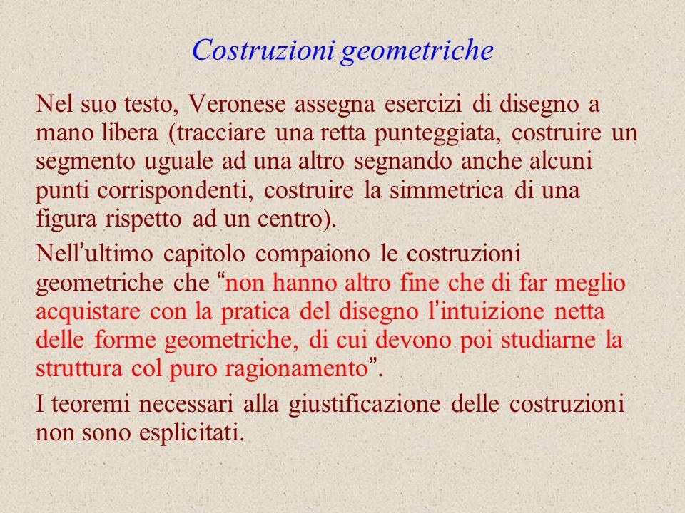 Costruzioni geometriche Nel suo testo, Veronese assegna esercizi di disegno a mano libera (tracciare una retta punteggiata, costruire un segmento ugua
