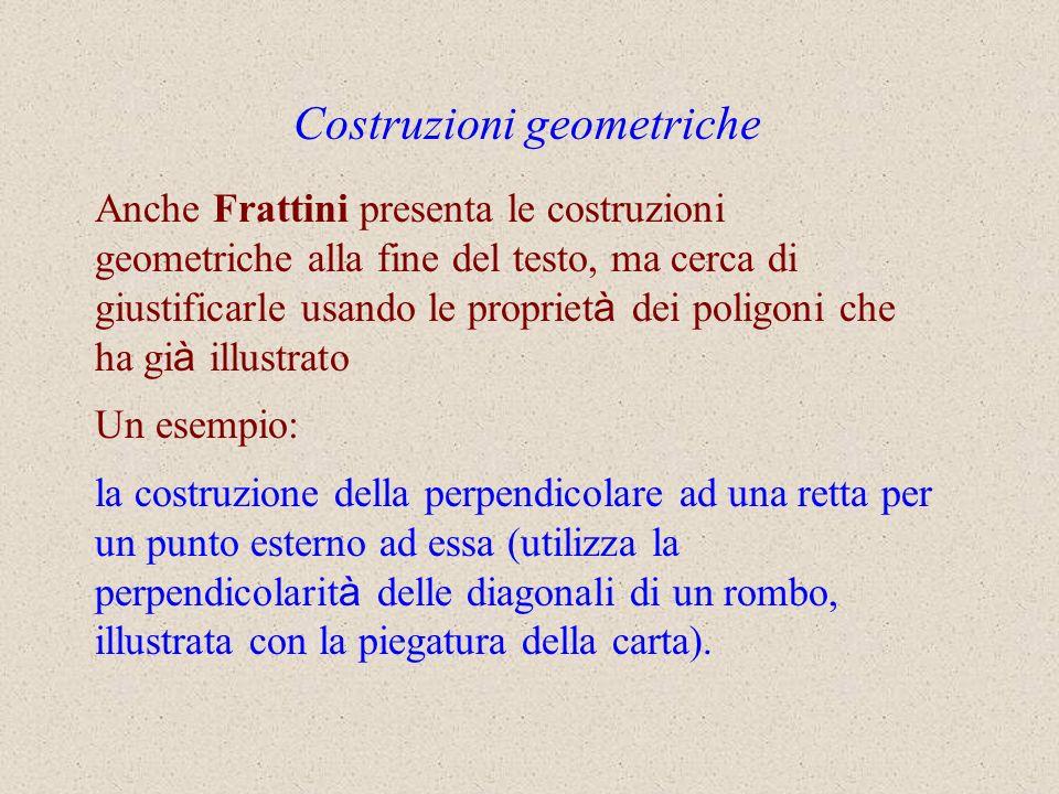 Anche Frattini presenta le costruzioni geometriche alla fine del testo, ma cerca di giustificarle usando le propriet à dei poligoni che ha gi à illust