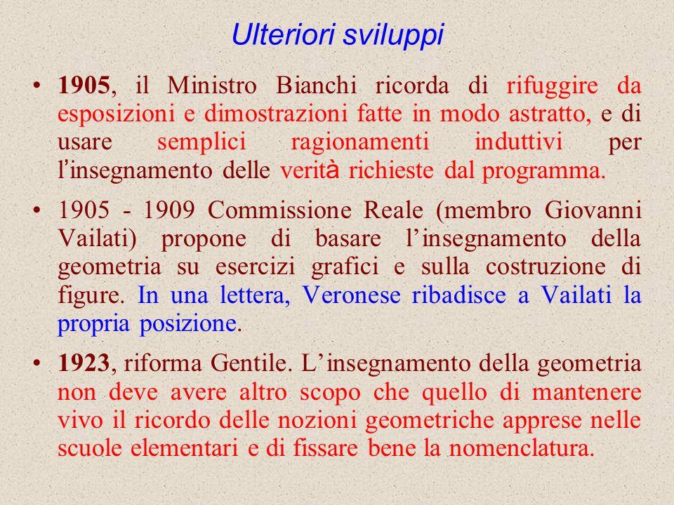 Ulteriori sviluppi 1905, il Ministro Bianchi ricorda di rifuggire da esposizioni e dimostrazioni fatte in modo astratto, e di usare semplici ragioname