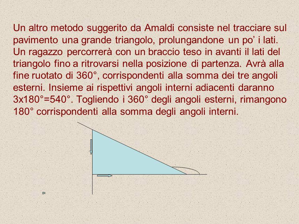 Un altro metodo suggerito da Amaldi consiste nel tracciare sul pavimento una grande triangolo, prolungandone un po i lati. Un ragazzo percorrerà con u