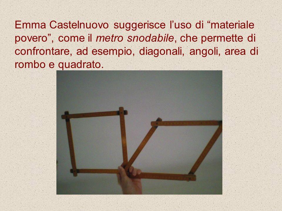 Emma Castelnuovo suggerisce luso di materiale povero, come il metro snodabile, che permette di confrontare, ad esempio, diagonali, angoli, area di rom
