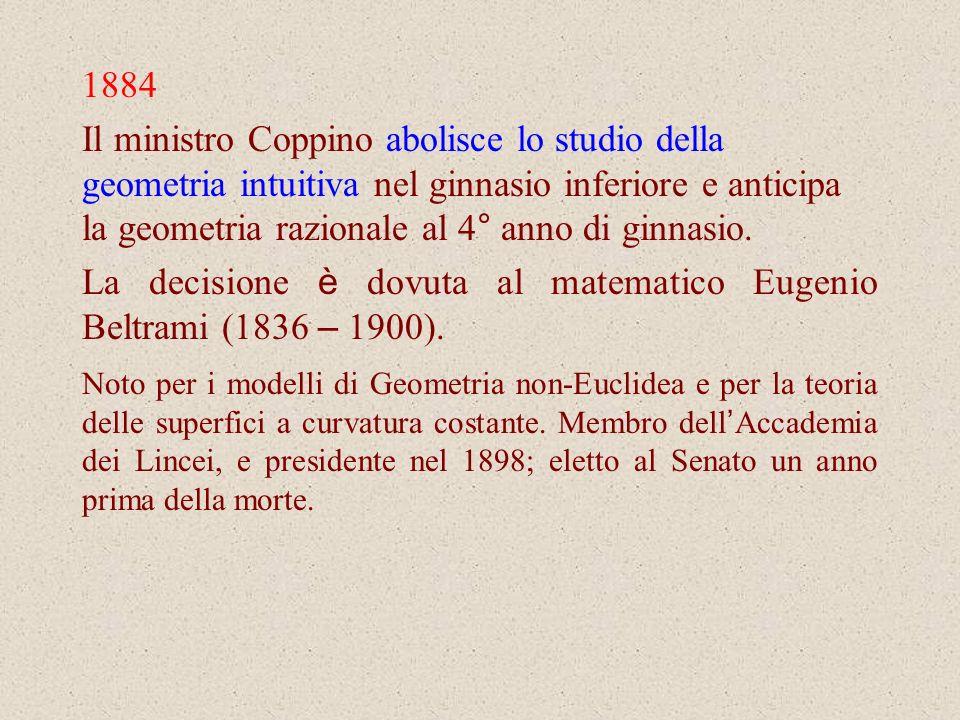 1884 Il ministro Coppino abolisce lo studio della geometria intuitiva nel ginnasio inferiore e anticipa la geometria razionale al 4° anno di ginnasio.