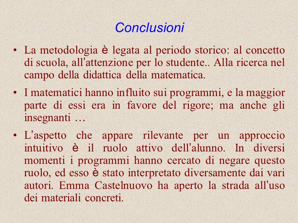 Conclusioni La metodologia è legata al periodo storico: al concetto di scuola, all attenzione per lo studente.. Alla ricerca nel campo della didattica