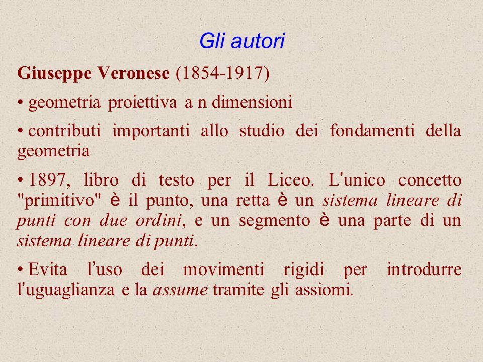 Gli autori Giuseppe Veronese (1854-1917) geometria proiettiva a n dimensioni contributi importanti allo studio dei fondamenti della geometria 1897, li