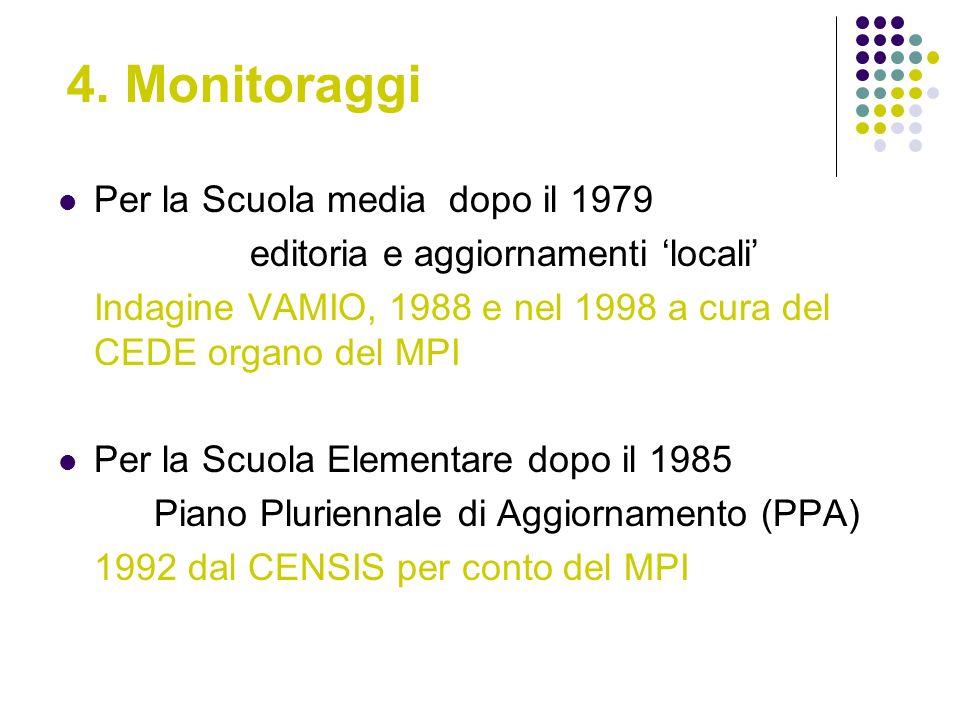 4. Monitoraggi Per la Scuola media dopo il 1979 editoria e aggiornamenti locali Indagine VAMIO, 1988 e nel 1998 a cura del CEDE organo del MPI Per la