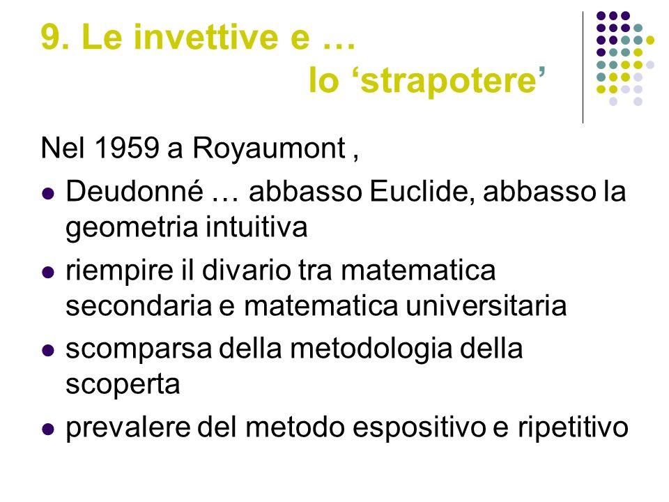 9. Le invettive e … lo strapotere Nel 1959 a Royaumont, Deudonné … abbasso Euclide, abbasso la geometria intuitiva riempire il divario tra matematica