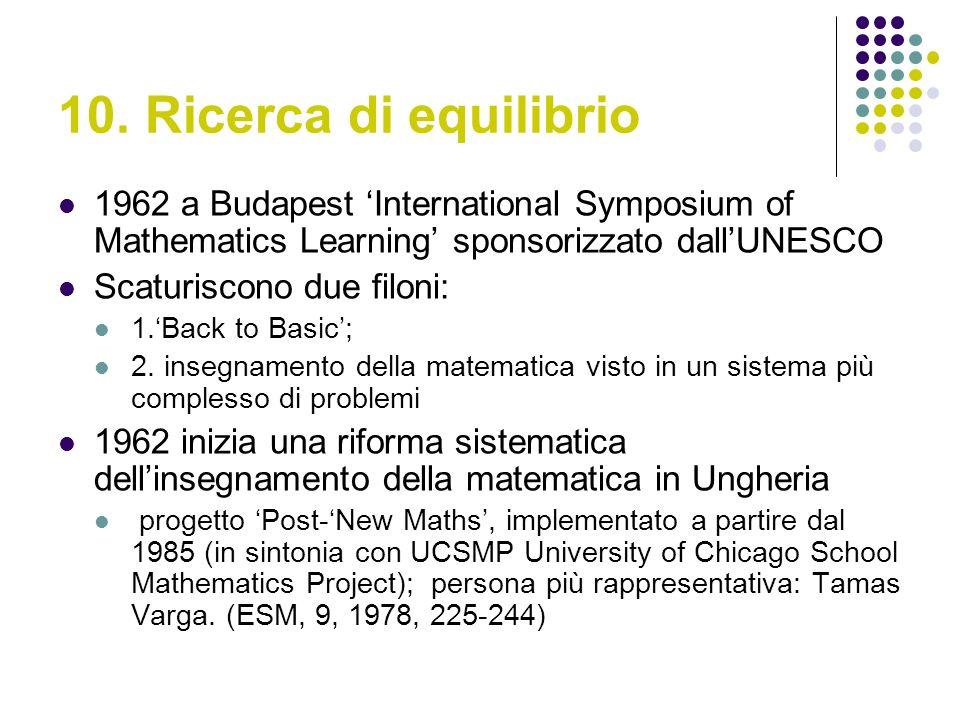 10. Ricerca di equilibrio 1962 a Budapest International Symposium of Mathematics Learning sponsorizzato dallUNESCO Scaturiscono due filoni: 1.Back to