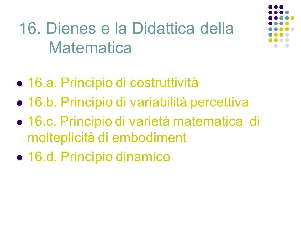 16. Dienes e la Didattica della Matematica 16.a. Principio di costruttività 16.b. Principio di variabilità percettiva 16.c. Principio di varietà matem