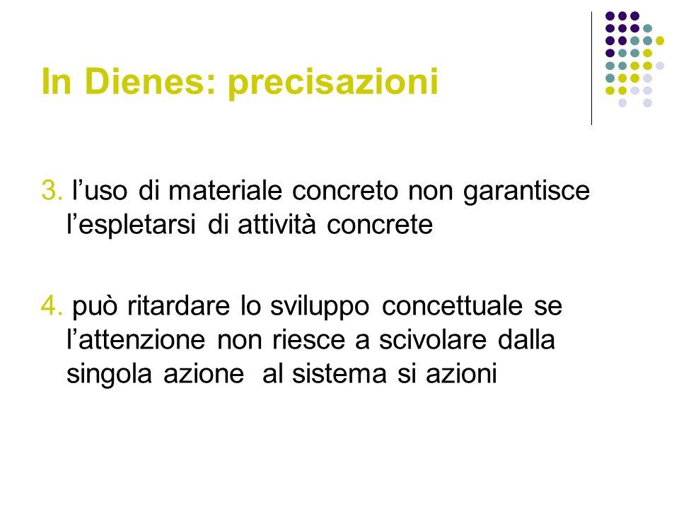 In Dienes: precisazioni 3. luso di materiale concreto non garantisce lespletarsi di attività concrete 4. può ritardare lo sviluppo concettuale se latt