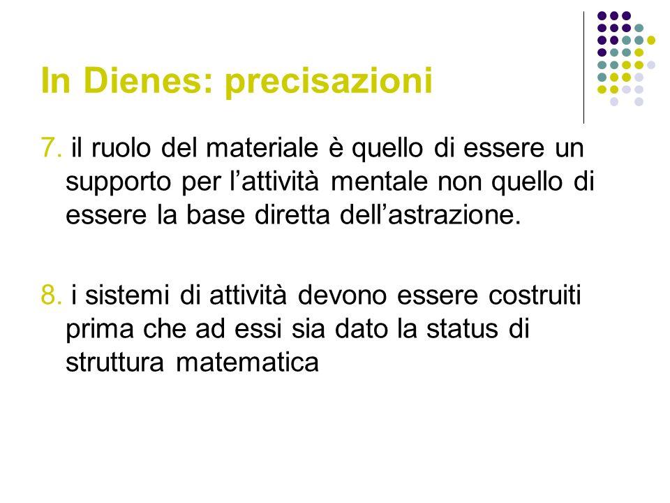 In Dienes: precisazioni 7. il ruolo del materiale è quello di essere un supporto per lattività mentale non quello di essere la base diretta dellastraz
