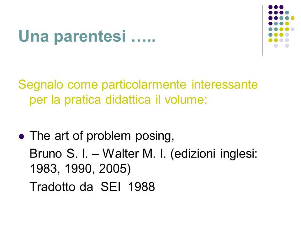 Una parentesi ….. Segnalo come particolarmente interessante per la pratica didattica il volume: The art of problem posing, Bruno S. I. – Walter M. I.