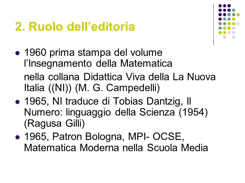 2. Ruolo delleditoria 1960 prima stampa del volume lInsegnamento della Matematica nella collana Didattica Viva della La Nuova Italia ((NI)) (M. G. Cam