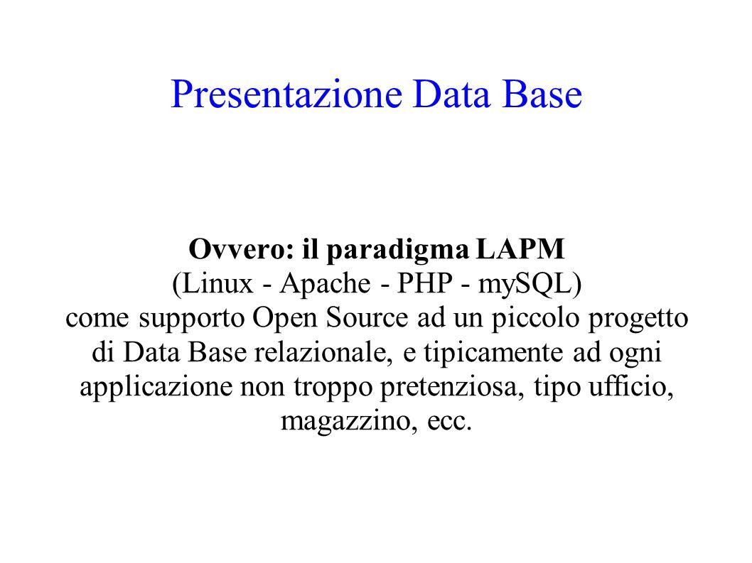 Presentazione Data Base Ovvero: il paradigma LAPM (Linux - Apache - PHP - mySQL) come supporto Open Source ad un piccolo progetto di Data Base relazionale, e tipicamente ad ogni applicazione non troppo pretenziosa, tipo ufficio, magazzino, ecc.