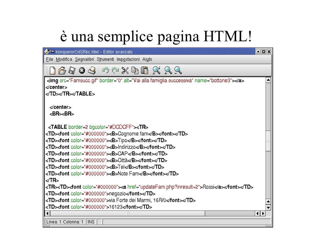 è una semplice pagina HTML!