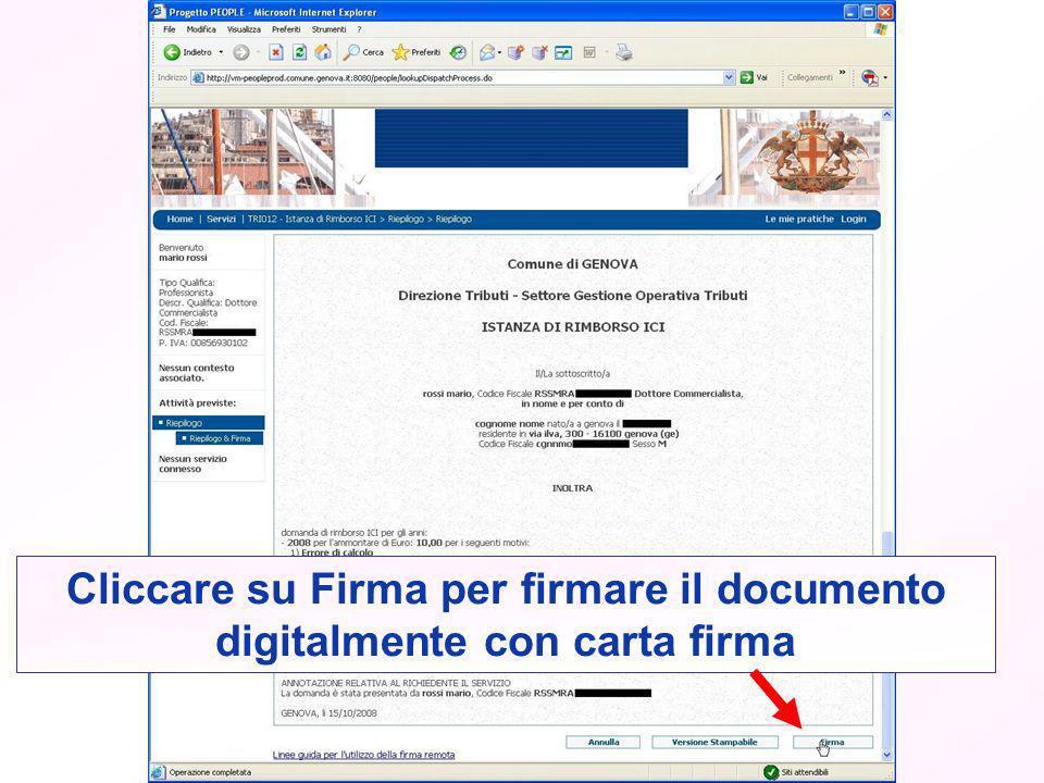 Cliccare su Firma per firmare il documento digitalmente con carta firma