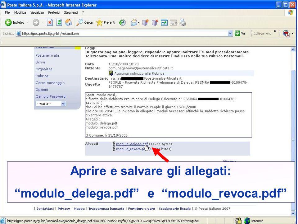 Aprire e salvare gli allegati: modulo_delega.pdf e modulo_revoca.pdf