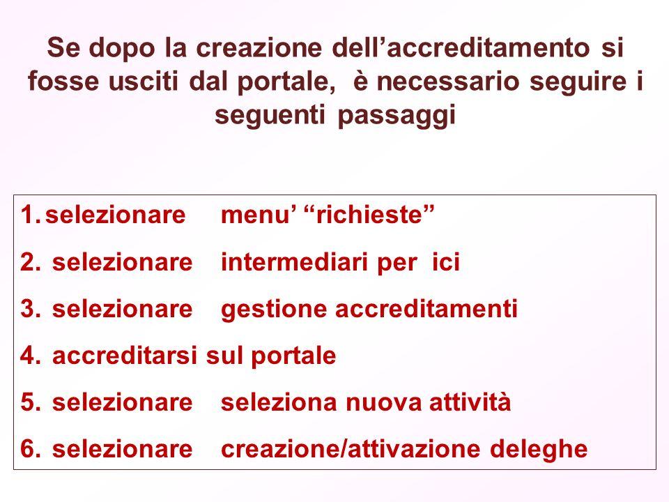 Se dopo la creazione dellaccreditamento si fosse usciti dal portale, è necessario seguire i seguenti passaggi 1.selezionare menu richieste 2.