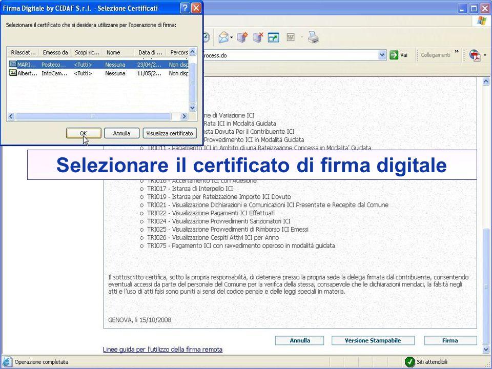 Selezionare il certificato di firma digitale