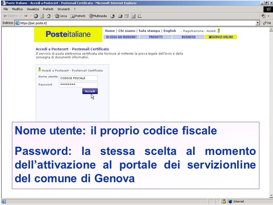 Nome utente: il proprio codice fiscale Password: la stessa scelta al momento dellattivazione al portale dei servizionline del comune di Genova