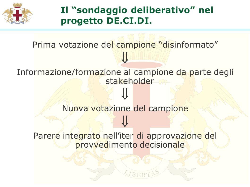 Il sondaggio deliberativo nel progetto DE.CI.DI. Prima votazione del campione disinformato Informazione/formazione al campione da parte degli stakehol