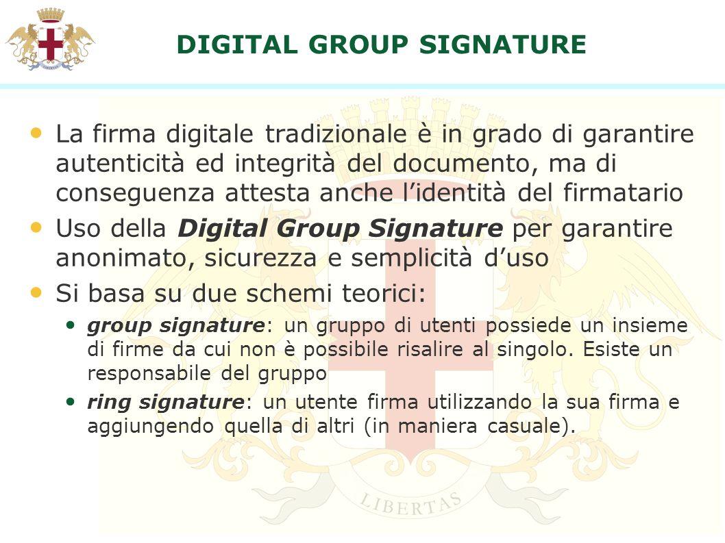 DIGITAL GROUP SIGNATURE La firma digitale tradizionale è in grado di garantire autenticità ed integrità del documento, ma di conseguenza attesta anche