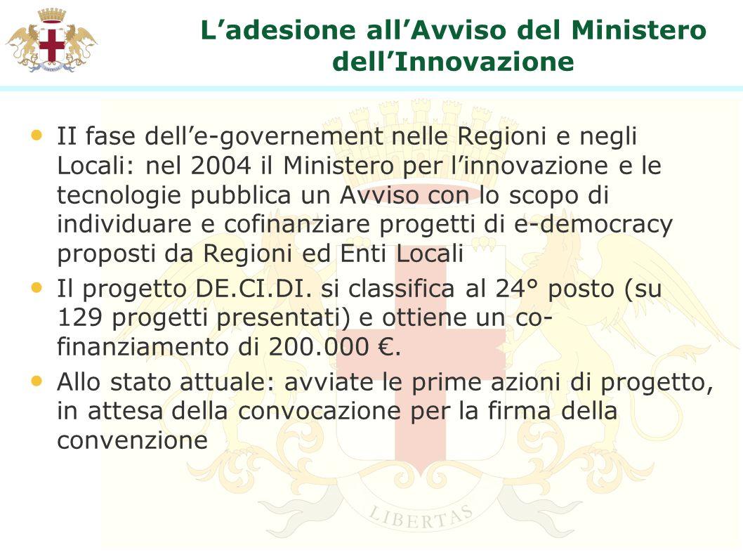 Ladesione allAvviso del Ministero dellInnovazione II fase delle-governement nelle Regioni e negli Locali: nel 2004 il Ministero per linnovazione e le