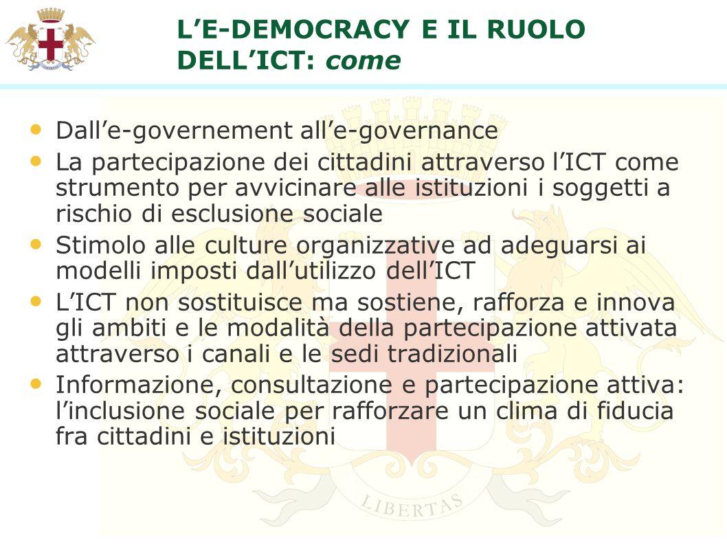 LE-DEMOCRACY E IL RUOLO DELLICT: come Dalle-governement alle-governance La partecipazione dei cittadini attraverso lICT come strumento per avvicinare
