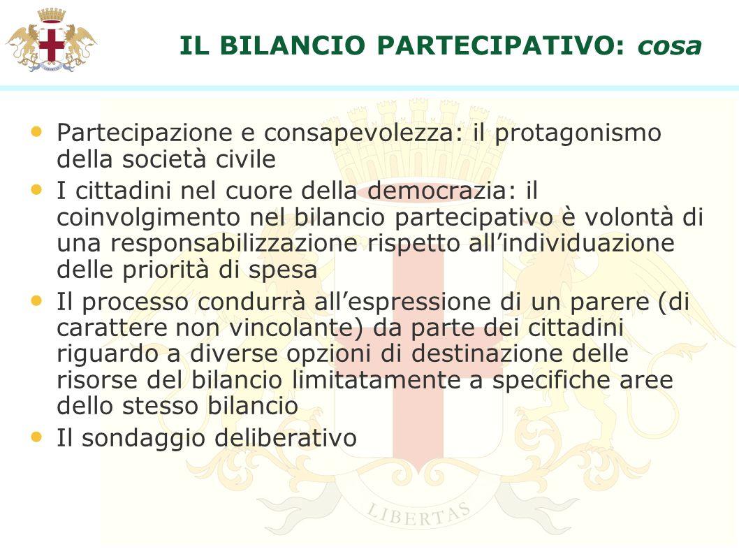 IL BILANCIO PARTECIPATIVO: cosa Partecipazione e consapevolezza: il protagonismo della società civile I cittadini nel cuore della democrazia: il coinv