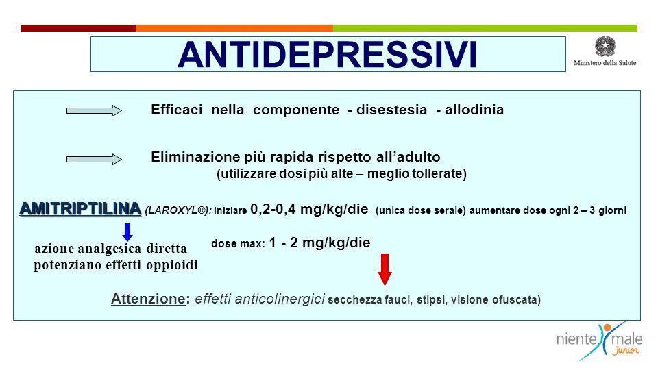 ANTIDEPRESSIVI Efficaci nella componente - disestesia - allodinia Eliminazione più rapida rispetto alladulto (utilizzare dosi più alte – meglio toller