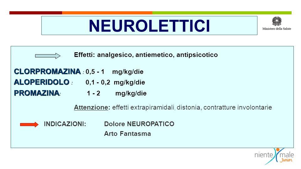 SEDATIVI - IPNOTICI: Benzodiazepine Effetti ricercati: ansiolisi, ipnosi, amnesia, ridotta tensione muscolare MIDAZOLAM : MIDAZOLAM : 0,1 – 0,2 mg/kg/dose LORAZEPAM LORAZEPAM DIAZEPAM DIAZEPAM : 0,05 – 0,1 mg/kg os/8 hr Effetti collaterali: depressione respiratoria, eccitazione paradossa, tolleranza, dipendenza, aumento secrezioni INDICAZIONI: procedure, postoperatorio