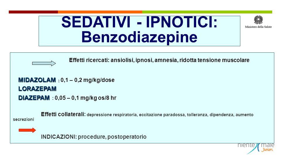 SEDATIVI - IPNOTICI: Benzodiazepine Effetti ricercati: ansiolisi, ipnosi, amnesia, ridotta tensione muscolare MIDAZOLAM : MIDAZOLAM : 0,1 – 0,2 mg/kg/