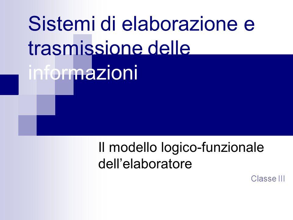 Sistemi di elaborazione e trasmissione delle informazioni Il modello logico-funzionale dellelaboratore Classe III