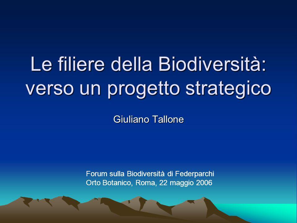 Le filiere della Biodiversità: verso un progetto strategico Giuliano Tallone Forum sulla Biodiversità di Federparchi Orto Botanico, Roma, 22 maggio 20