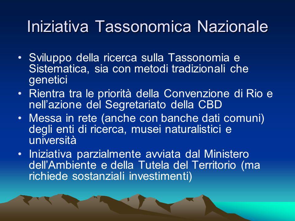 Iniziativa Tassonomica Nazionale Sviluppo della ricerca sulla Tassonomia e Sistematica, sia con metodi tradizionali che genetici Rientra tra le priori