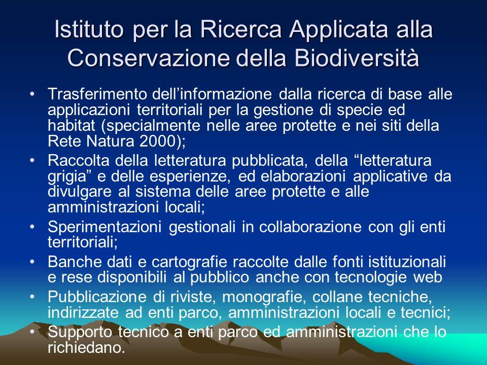Istituto per la Ricerca Applicata alla Conservazione della Biodiversità Trasferimento dellinformazione dalla ricerca di base alle applicazioni territo