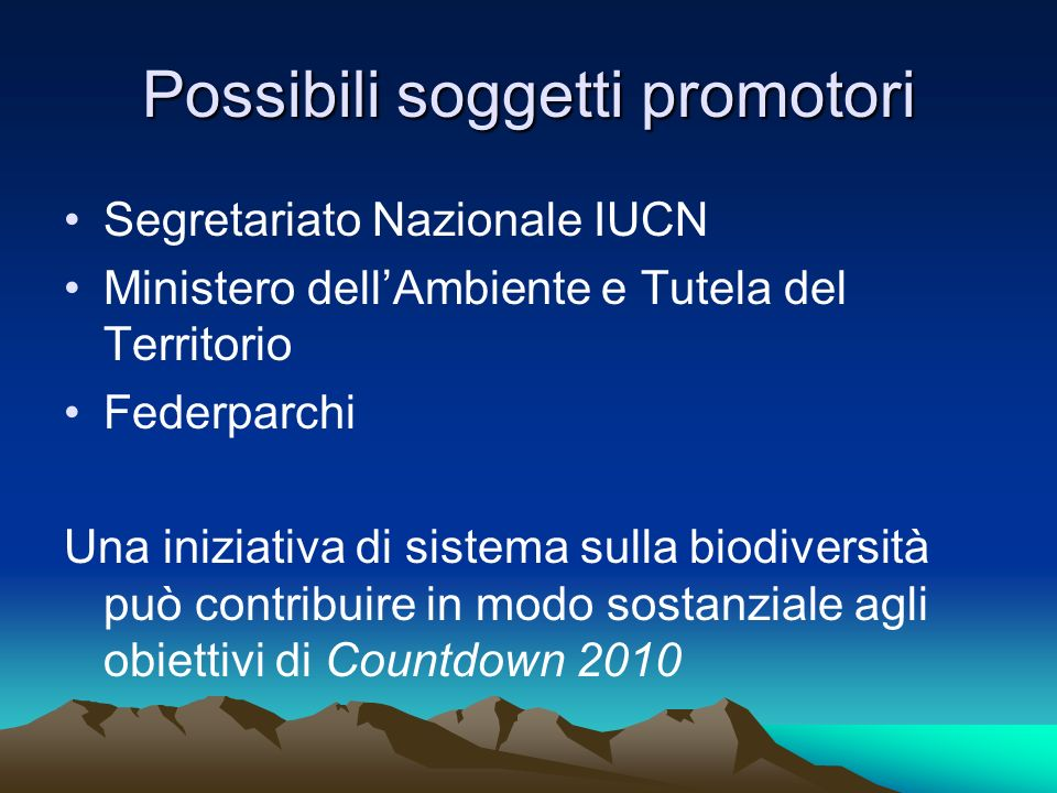 Possibili soggetti promotori Segretariato Nazionale IUCN Ministero dellAmbiente e Tutela del Territorio Federparchi Una iniziativa di sistema sulla bi