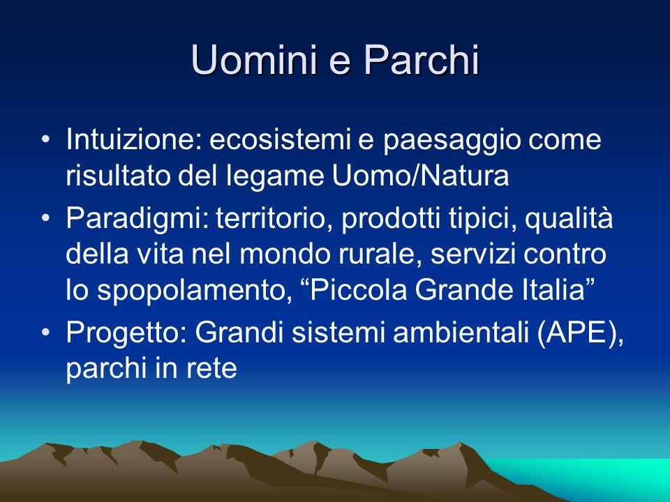Uomini e Parchi Intuizione: ecosistemi e paesaggio come risultato del legame Uomo/Natura Paradigmi: territorio, prodotti tipici, qualità della vita ne