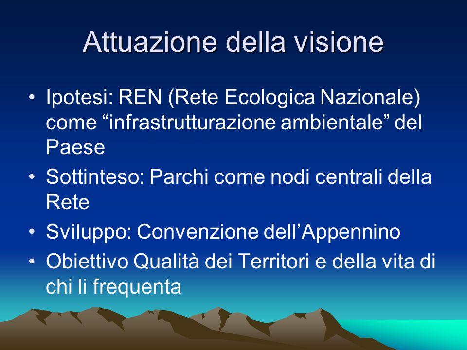 Attuazione della visione Ipotesi: REN (Rete Ecologica Nazionale) come infrastrutturazione ambientale del Paese Sottinteso: Parchi come nodi centrali d
