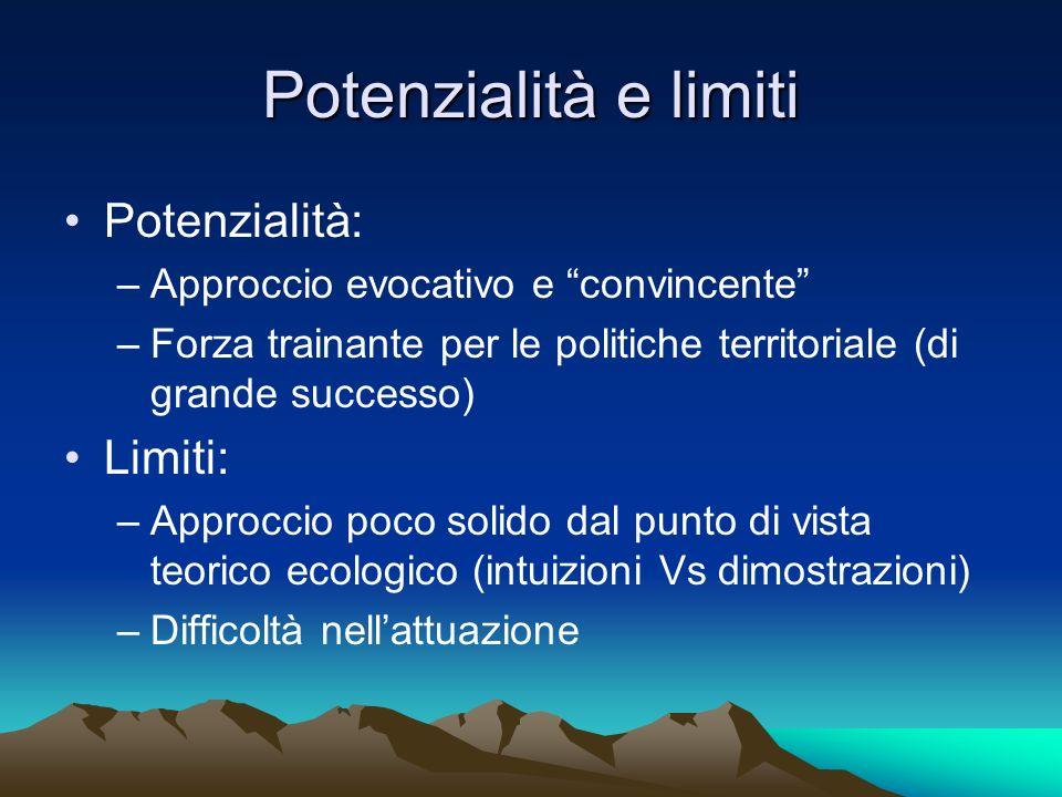 Potenzialità e limiti Potenzialità: –Approccio evocativo e convincente –Forza trainante per le politiche territoriale (di grande successo) Limiti: –Ap