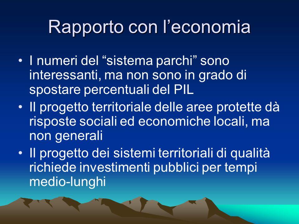 Rapporto con leconomia I numeri del sistema parchi sono interessanti, ma non sono in grado di spostare percentuali del PIL Il progetto territoriale de