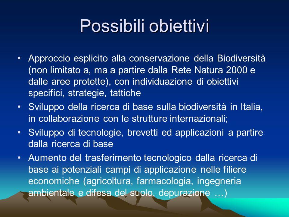 Possibili obiettivi Approccio esplicito alla conservazione della Biodiversità (non limitato a, ma a partire dalla Rete Natura 2000 e dalle aree protet