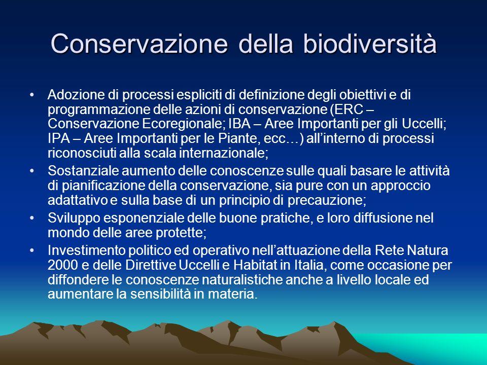 Conservazione della biodiversità Adozione di processi espliciti di definizione degli obiettivi e di programmazione delle azioni di conservazione (ERC