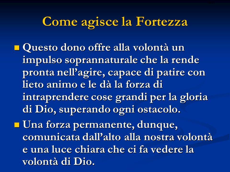 La Fortezza nella vita di ogni giorno Il dono della fortezza, come pure tutti gli altri doni dello Spirito Santo, non viene effuso soltanto per le grandi imprese, quelle dei santi e dei martiri.