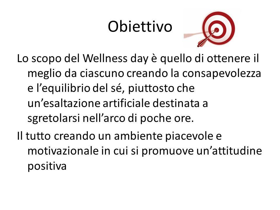 Obiettivo Lo scopo del Wellness day è quello di ottenere il meglio da ciascuno creando la consapevolezza e lequilibrio del sé, piuttosto che unesaltazione artificiale destinata a sgretolarsi nellarco di poche ore.