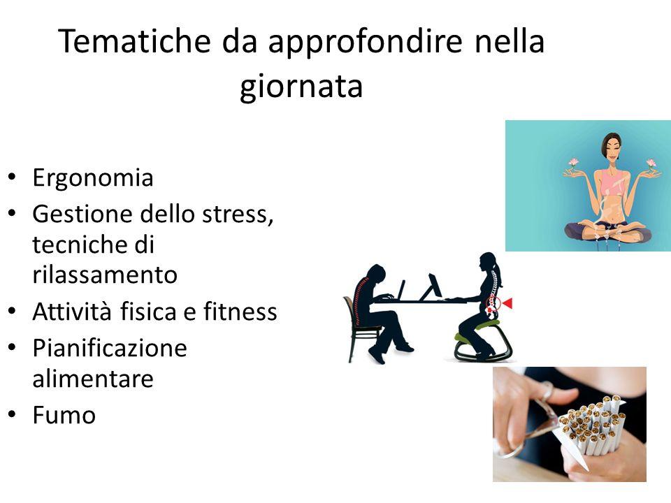 Tematiche da approfondire nella giornata Ergonomia Gestione dello stress, tecniche di rilassamento Attività fisica e fitness Pianificazione alimentare Fumo