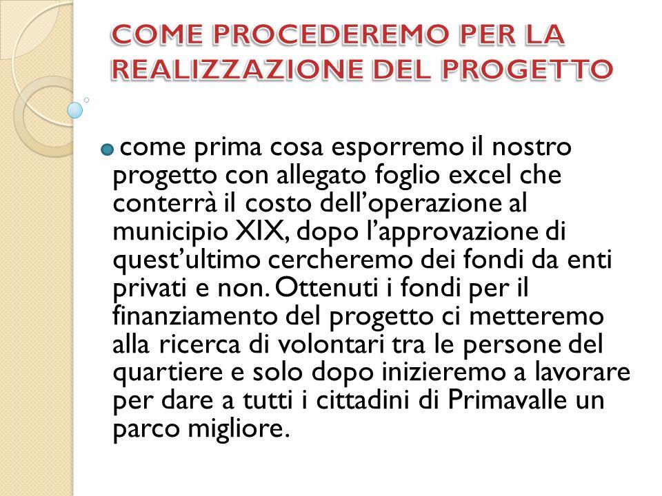 come prima cosa esporremo il nostro progetto con allegato foglio excel che conterrà il costo delloperazione al municipio XIX, dopo lapprovazione di questultimo cercheremo dei fondi da enti privati e non.