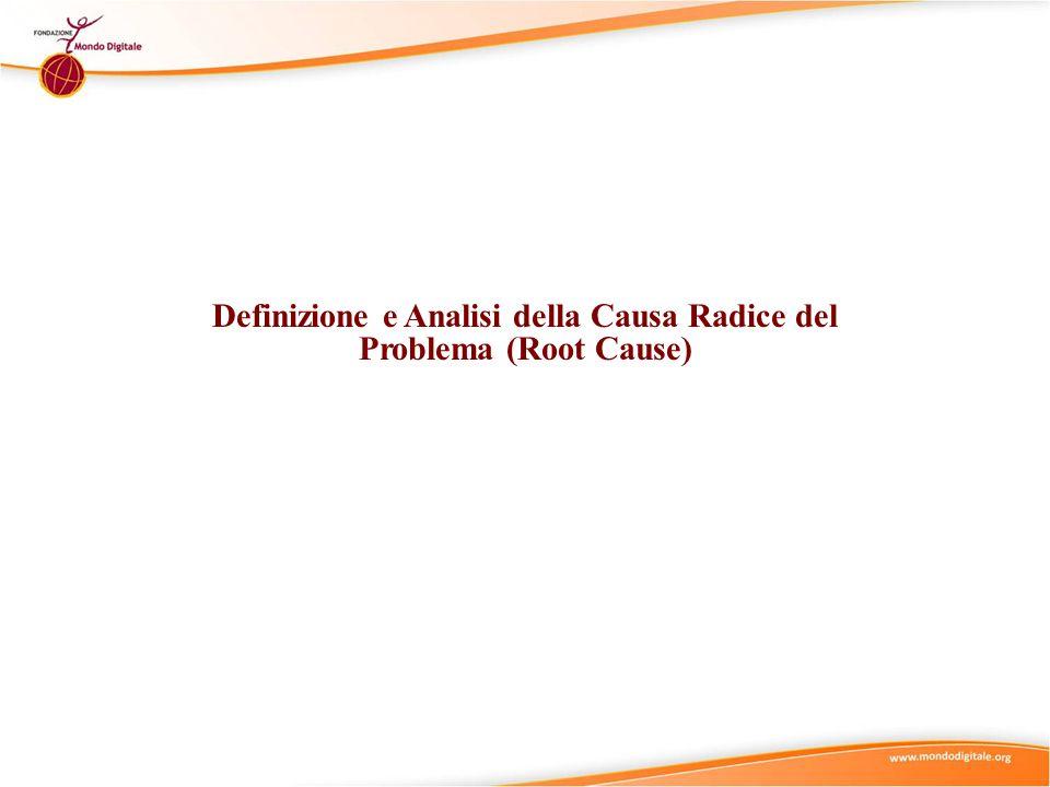 La definizione della causa radice del problema è il processo di analisi che porta a individuare i fattori veramente critici (ad es.