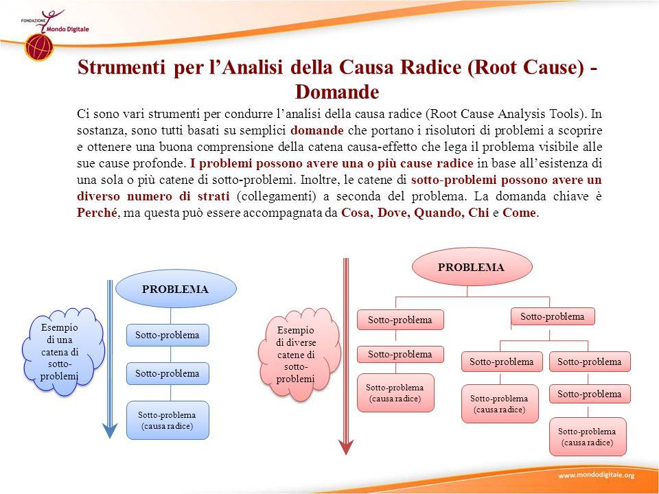 Ci sono vari strumenti per condurre lanalisi della causa radice (Root Cause Analysis Tools). In sostanza, sono tutti basati su semplici domande che po