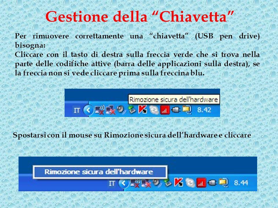 Gestione della Chiavetta Per rimuovere correttamente una chiavetta (USB pen drive) bisogna: Cliccare con il tasto di destra sulla freccia verde che si
